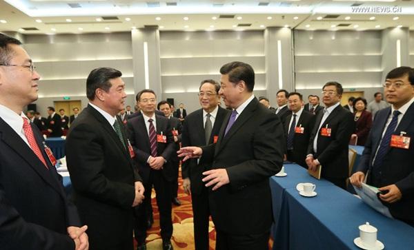 انضم الرئيس الصيني شي جين بينغ إلى مناقشات مجموعة من المستشارين السياسيين من الجمعية الديمقراطية الصينية لبناء الوطن واتحاد عموم الصين للصناعة والتجارة