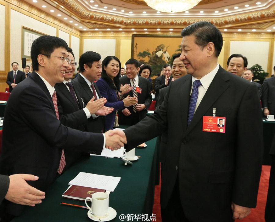 شي جين بينغ يشارك وفد مقاطعة هيلونغجيانغ في النظر في تقرير عمل الحكومة
