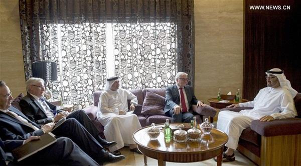 حضر وزير الخارجية الاماراتي الشيخ عبد الله بن زايد آل نهيان مع نظيره اللماني فرانك فالتر شتاينماير بعد المحادثات بأبوظبي