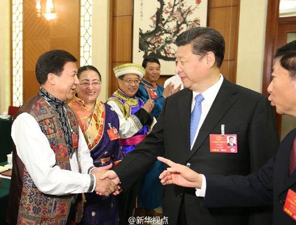 الرئيس الصيني يشارك وفد تشينغهاي في المراجعة