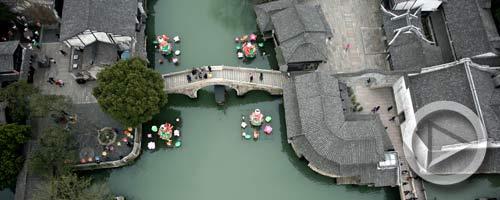 3月9日无人机航拍乌镇,江南小镇风光尽收眼底。