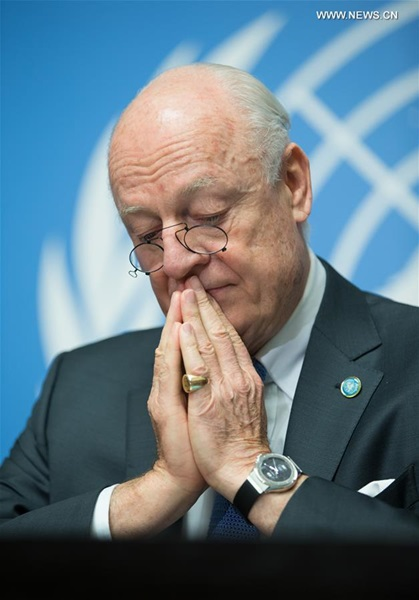 حضر مبعوث الامم المتحدة الخاص من اجل سوريا ستيفان دي ميستورا مؤتمرا صحفيا في جنيف