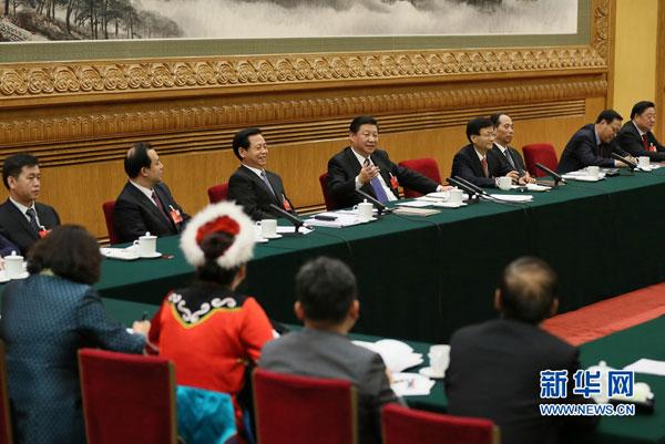 3月7日,中共中央总书记、国家主席、中央军委主席习近平参加十二届全国人大四次会议黑龙江代表团的审议。 新华社记者 兰红光 摄
