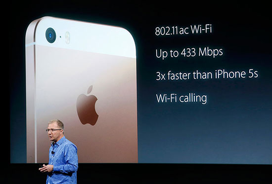 Apple Vice President Greg Joswiak introduces the iPhone SE during an event at the Apple headquarters in Cupertino, California March 21, 2016