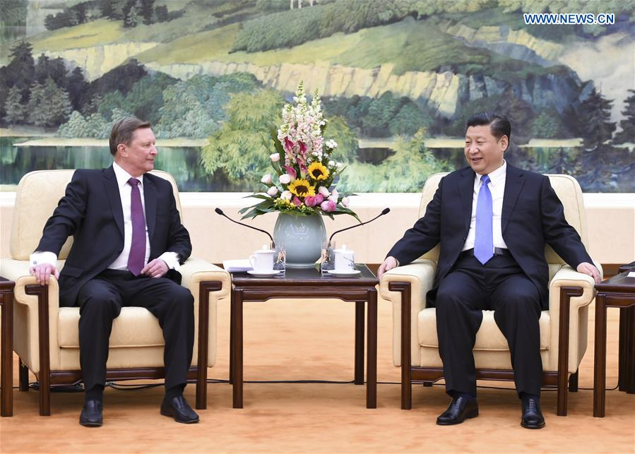 BEIJING, March 25, 2016 (Xinhua) -- Chinese President Xi Jinping (R) meets with Russian Presidential Administration chief Sergei Ivanov at the Great Hall of the People in Beijing, capital of China, March 25, 2016. (Xinhua/Xie Huanchi)