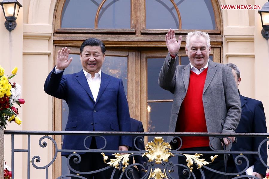 Chinese President Xi Jinping (L) meets with Czech President Milos Zeman at the Lany presidential chateau in central Bohemia, Czech Republic, March 28, 2016. Xi started a three-day state visit to the Czech Republic from Monday, the first state visit by a Chinese president in 67 years since the two countries established diplomatic ties. (Xinhua/Ju Peng)