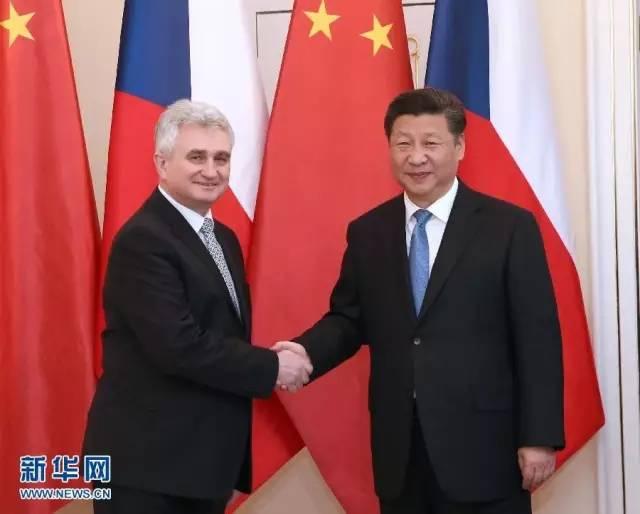 △3月29日,习近平在布拉格会见捷克参议院主席什捷赫。