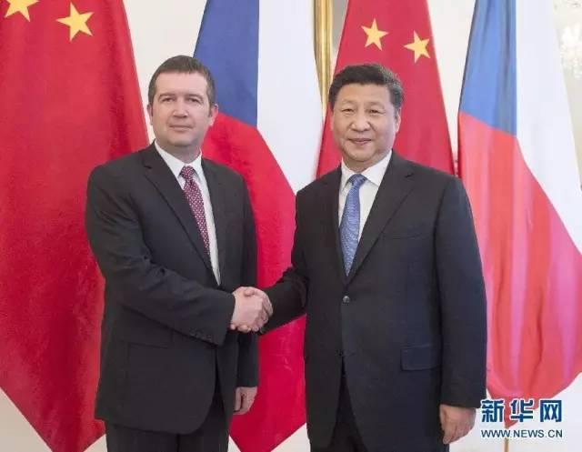 △3月29日,习近平在布拉格会见捷克众议院主席哈马切克。