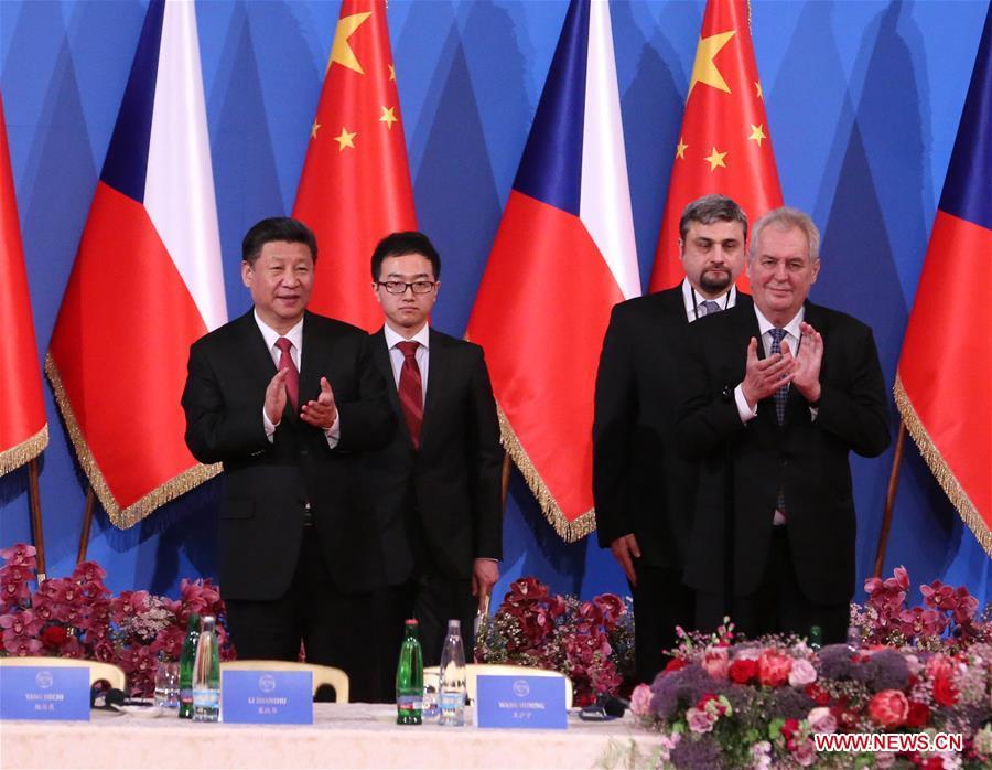Chinese President Xi Jinping and his Czech counterpart Milos Zeman attend the China-Czech Economic Roundtable in Prague, the Czech Republic, March 30, 2016. (Xinhua/Pang Xinglei)