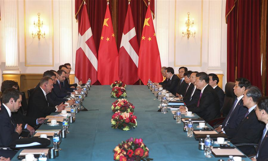 Chinese President Xi Jinping (4th R) meets with Danish Prime Minister Lars Loekke Rasmussen (3rd L) in Washington, the United States, March 31, 2016. (Xinhua/Xie Huanchi)