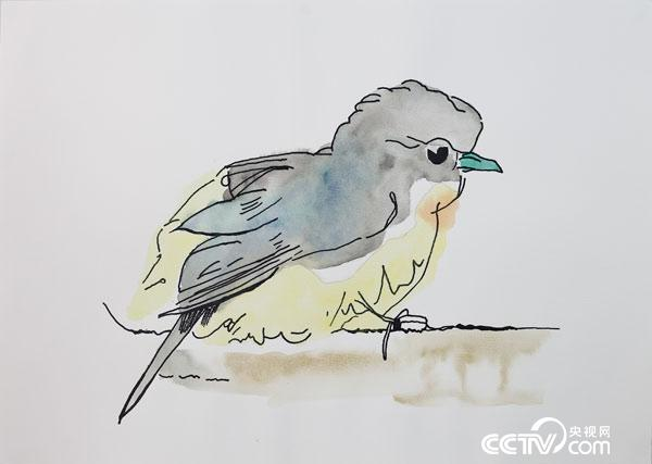 A bird, drawn by Wu Kejun