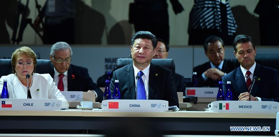 WASHINGTON D.C., April 1, 2016 (Xinhua) -- Chinese President Xi Jinping (C, front) attends the closing session of the fourth Nuclear Security Summit in Washington D.C., the United States, April 1, 2016. (Xinhua/Zhang Duo