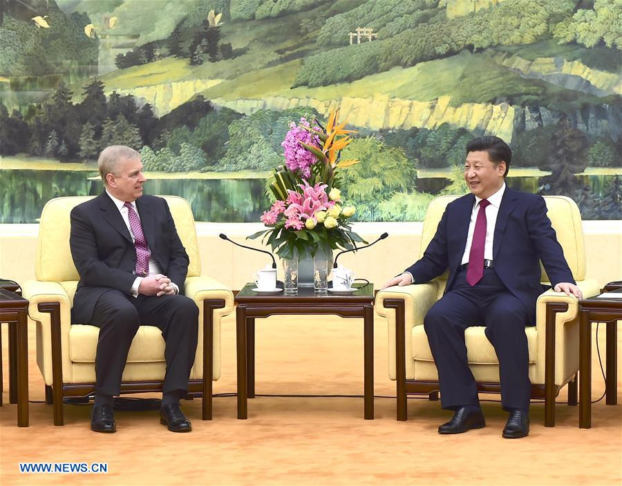 Chinese President Xi Jinping (R) meets with visiting British Prince Andrew, the Duke of York, in Beijing, capital of China, April 5, 2016. (Xinhua/Zhang Duo)