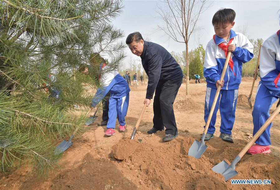 Chinese President Xi Jinping (C) plants a sapling with students during a tree-planting event in Xihongmen Township of Daxing District in Beijing, capital of China, April 5, 2016. Top leaders Xi Jinping, Li Keqiang, Zhang Dejiang, Yu Zhengsheng, Liu Yunshan, Wang Qishan and Zhang Gaoli attended a voluntary tree-planting in Beijing on Tuesday. (Xinhua/Li Tao)