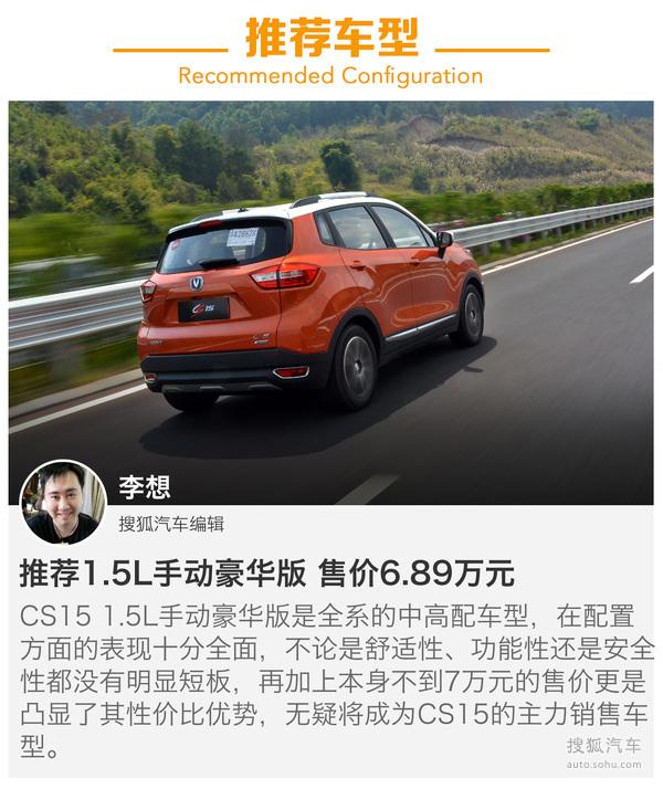 总结:虽然对于长安CS15来说,前有哈弗H1拦路后有绅宝X25等车型堵截,但是从配置和售价来分析,CS15还是有着非常强的竞争力,加之长安SUV车系在近几年销量上的强势表现,官方给出CS15破10万的年销量预期并非空穴来风。而从产品层次面来看先期上市的这四款车型里,中配的两款性价比较高,其中豪华版的配置优势主要体现在多媒体上,CarLife功能的加入显然是为了迎合年轻人的需求,所以在预算充足的情况下首先建议选择1.
