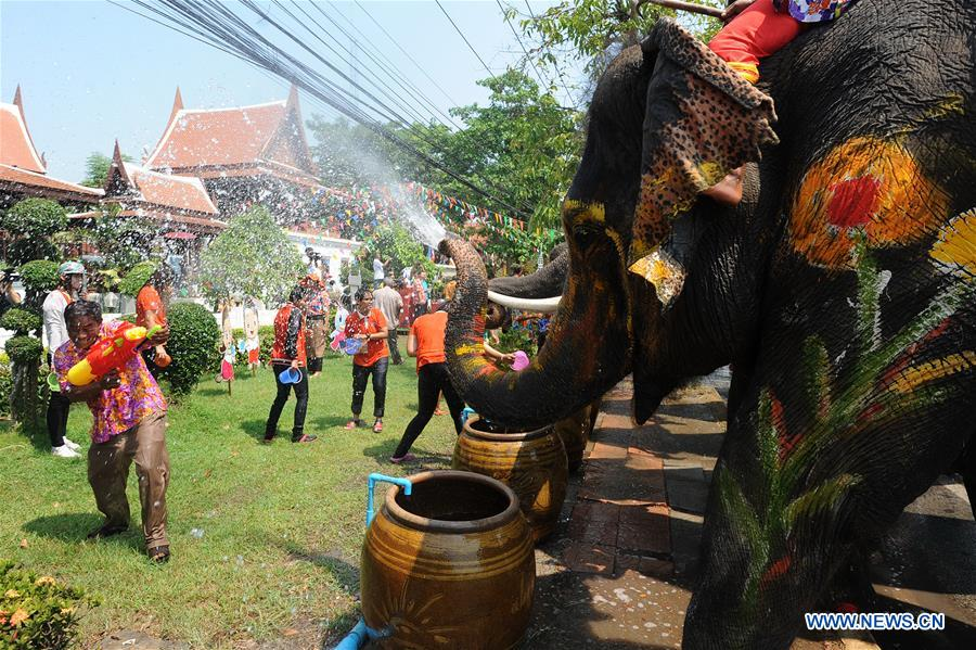 Elephants spray water on tourists during the celebration of the upcoming Songkran festival in Ayutthaya province, Thailand, April 11, 2016. Songkran, also known as the water festival, is celebrated in Thailand as the traditional New Year