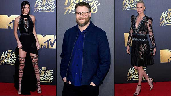 Kendall Jenner, Seth Rogen and Charlize Theron at the ceremony