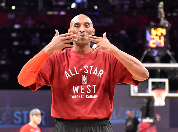 Western Conference forward Kobe Bryant of the Los Angeles Lakers blows kisses before the NBA All Star Game at Air Canada Centre, Feb 14, 2016.