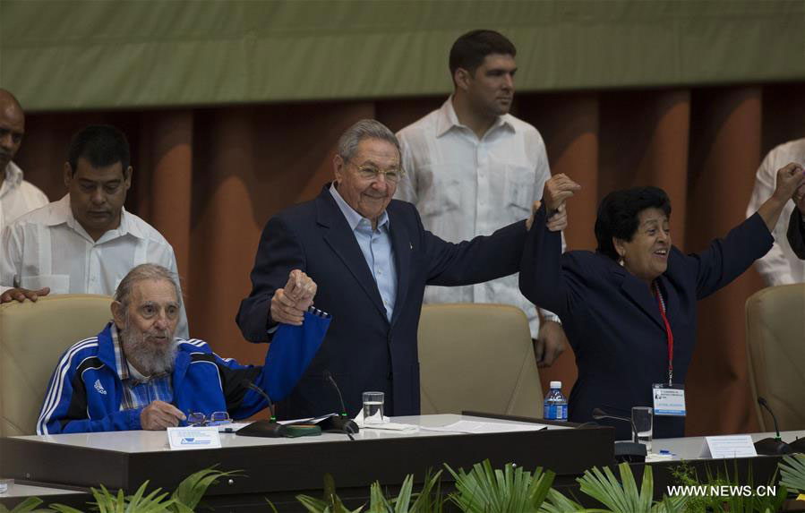 Cuban revolutionary leader Fidel Castro (L, front) and Cuban President Raul Castro (C, front), take part during the seventh Congress of the Communist Party of Cuba (PCC), at the Palace of Conventions, in Havana, Cuba, on April 19, 2016. [Photo: Xinhua]
