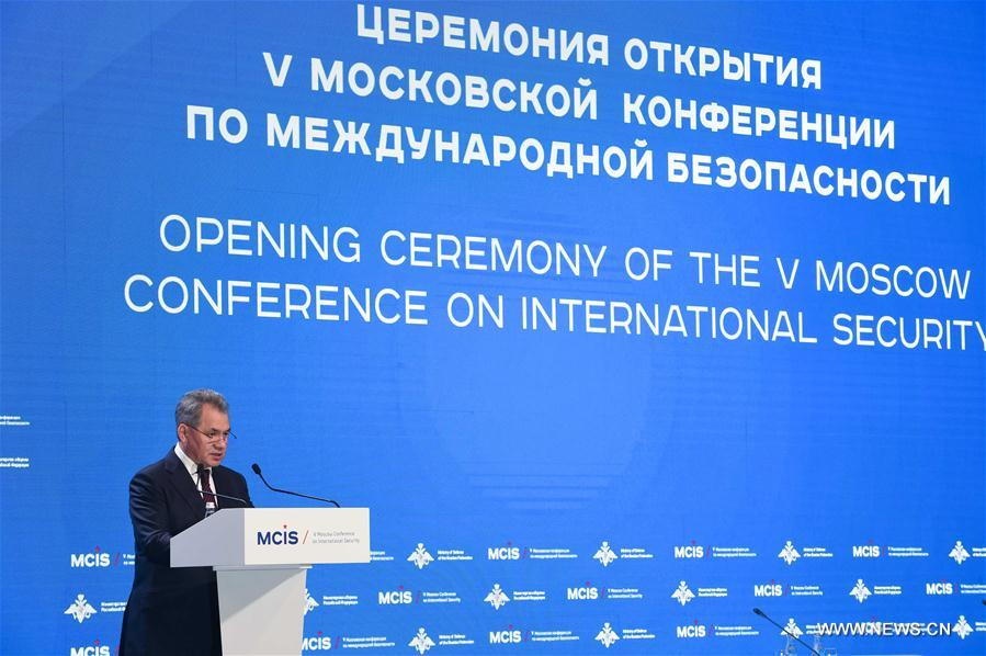 Russian Defense Minister Sergei Shoigu delivers a speech during the 5th Moscow Conference on International Security (MCIS) in Moscow, Russia, on April 27, 2016. The 5th Moscow Conference on International Security is held here with main topic of fighting terrorism this year. (Xinhua/Dai Tianfang)