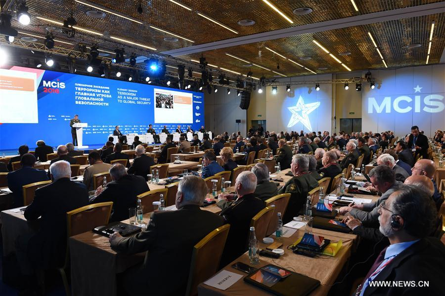 Delegates attend the 5th Moscow Conference on International Security (MCIS) in Moscow, Russia, on April 27, 2016. The 5th Moscow Conference on International Security is held here with main topic of fighting terrorism this year. (Xinhua/Dai Tianfang)
