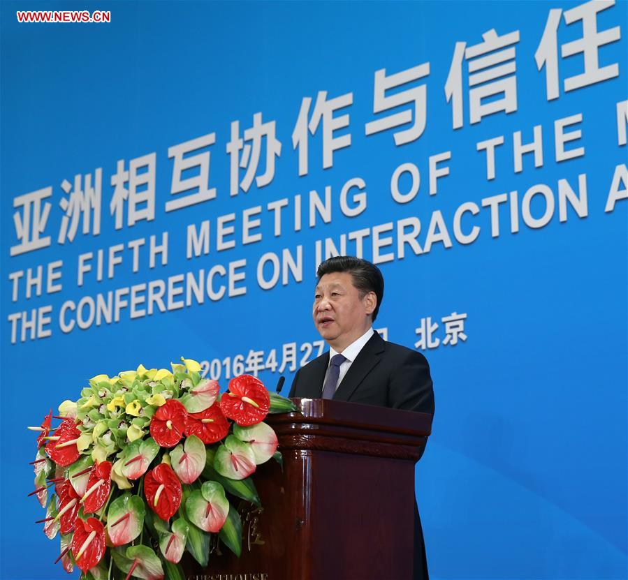 BEIJING, April 28, 2016 (Xinhua) -- Chinese President Xi Jinping addresses the opening ceremony of the fifth foreign ministers