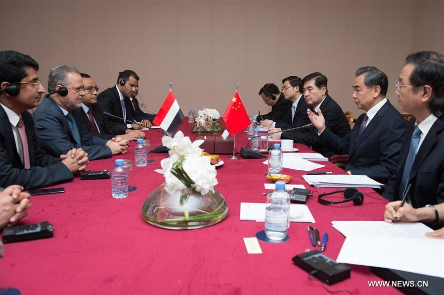 DOHA, May 12, 2016 (Xinhua) -- Chinese Foreign Minister Wang Yi (2nd R) meets with Yemeni Deputy Prime Minister and Foreign Minister Abdulmalik al-Mekhlafi (2nd L) in Doha, Qatar, May 11, 2016. Wang and al-Mekhlafi are in the Qatari capital for the 7th Ministerial Meeting of China-Arab Cooperation Forum, which is scheduled to open on Thursday.(Xinhua/Meng Tao)