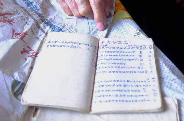 A book belonging to Chinese fisherman Su Chengfen depicts sailing routes from Tanmen county in Hainan province to Huangyan Island in the South China Sea. LIU XIAOLI / CHINA DAILY
