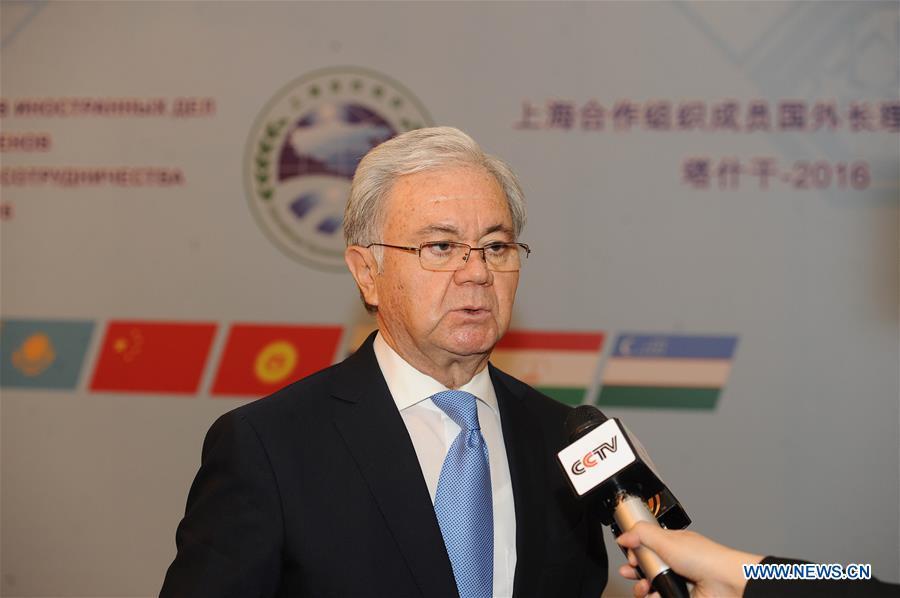 Shanghai Cooperation Organization (SCO) Secretary-General Rashid Olimov speaks to media after the foreign ministers