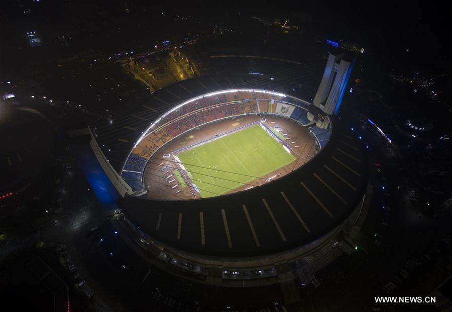 HANGZHOU, 25 mai (Xinhua) -- Vue aérienne du stade Huanglong à Hangzhou, capitale de la province chinoise du Zhejiang (est), le 8 mai 2016. La Chine organisera les 4 et 5 septembre le sommet du G20 dans la ville de Hangzhou, une ville touristique très connue pour son lac de l