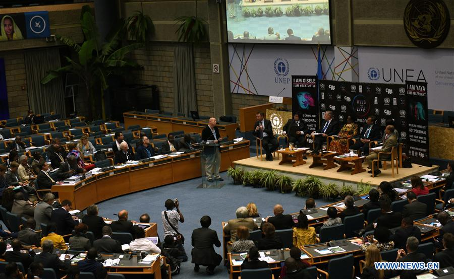 "NAIROBI, May 25, 2016 (Xinhua) -- Photo taken on May 25, 2016 shows a ministerial conference about illegal wildlife trade of the ongoing second edition of the United Nations Environment Assembly (UNEA2) in Nairobi, capital of Kenya, The United Nations (UN) in partnership with celebrities on Wednesday launched a new campaign, dubbed ""Wild for Life"", to re-invigorate the fight against illegal wildlife trade. According to latest UNEP statistics, illegal wildlife trade is worth up to 20 billion U.S. dollars annually, and is one of the largest illegal trades in the world, along with trafficking of drugs, arms, and humans. And an estimated 170 tonnes of ivory was illegally exported out of Africa from 2009 to 2014. (Xinhua/Li Baishun)"