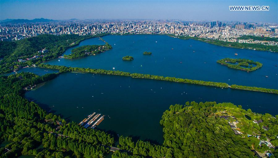 HANGZHOU, May 25, 2016 (Xinhua) -- This aerial photo taken on May 12, 2015 shows the West Lake in Hangzhou, capital of east China