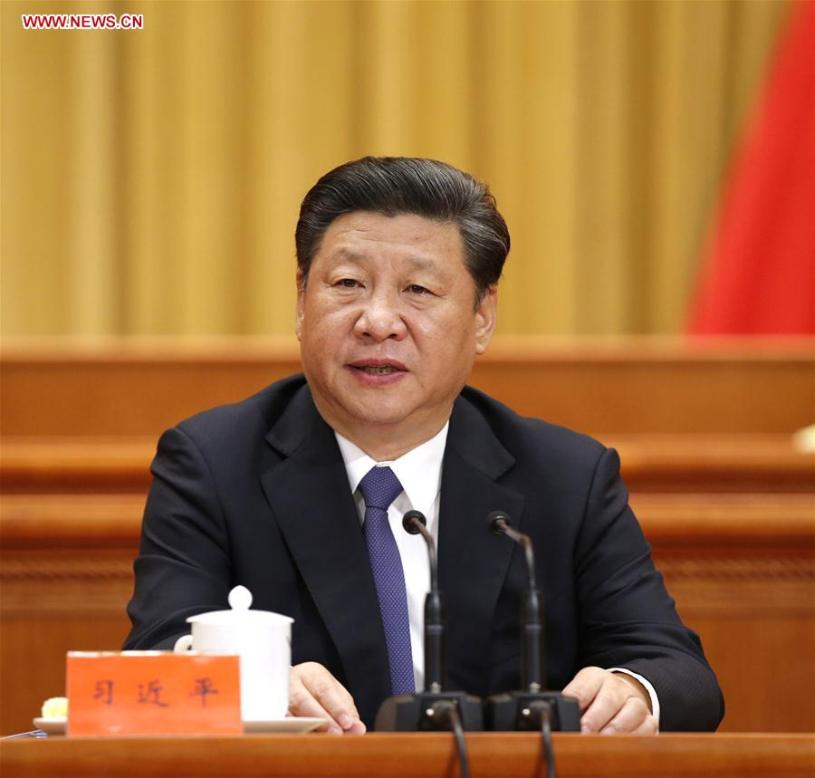 BEIJING, May 30, 2016 (Xinhua) -- Chinese President Xi Jinping addresses an event conflating the national conference on science and technology, the biennial conference of the country