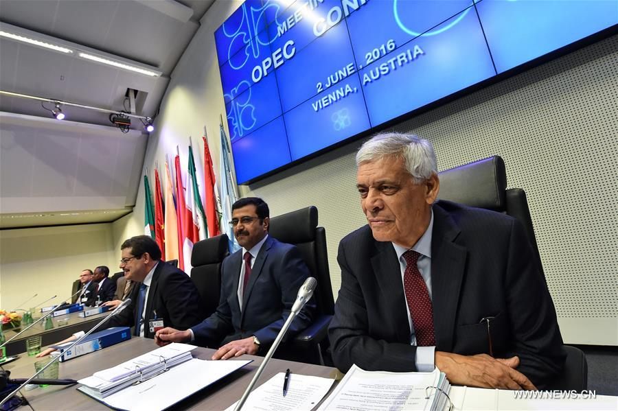 Abdallah Salem el-Badri (R), secretary-general of the Organization of the Petroleum Exporting Countries (OPEC), rotating president of OPEC and Minister of Energy and Industry of Qatar, attends the 169th meeting of the OPEC conference in Vienna, capital of Austria, on June 2, 2016. (Xinhua/Qian Yi)