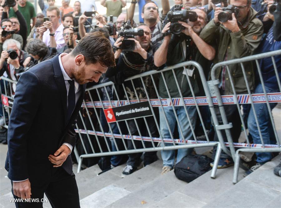 Lionel Messi arrive au tribunal de Barcelone, le 2 juin 2016. (Xinhua/AFP)