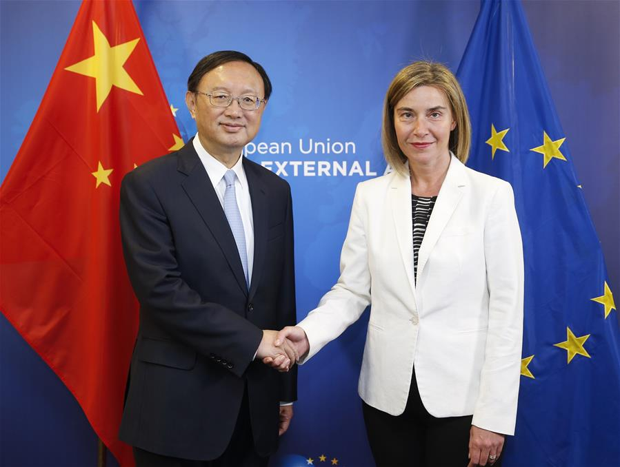BRUSSELS, June 10, 2016 (Xinhua) -- Chinese State Councilor Yang Jiechi (L) shakes hands with European Union (EU) High Representative for Foreign Affairs and Security Policy Federica Mogherini at the 6th round of China-EU high-level strategic dialogue in Brussels, Belgium, June 10, 2016. (Xinhua/Ye Pingfan)