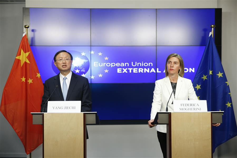 BRUSSELS, June 10, 2016 (Xinhua) -- Chinese State Councilor Yang Jiechi (L) and European Union (EU) High Representative for Foreign Affairs and Security Policy Federica Mogherini address a joint press conference after the 6th round of China-EU high-level strategic dialogue in Brussels, Belgium, June 10, 2016. (Xinhua/Ye Pingfan)