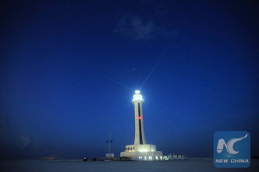 Photo taken on April 5, 2016 shows the lighthouse on Zhubi Reef of Nansha Islands in the South China Sea, south China. (Xinhua file photo)