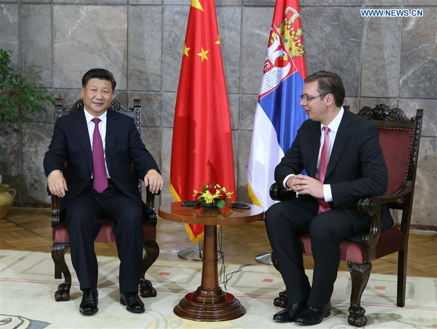 BELGRADE, June 18, 2016 (Xinhua) -- Chinese President Xi Jinping (L) meets with Serbian Prime Minister Aleksandar Vucic in Belgrade, Serbia, June 18, 2016. (Xinhua/Ma Zhancheng)