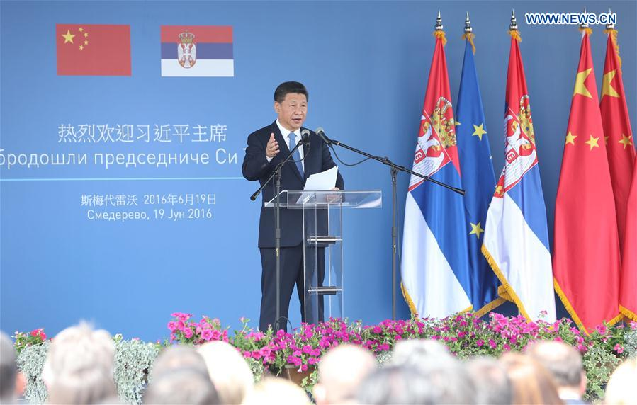 Chinese President Xi Jinping delivers a speech as he visits Serbia