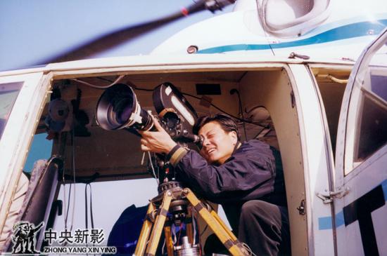 1997年,在空中航拍香港回归庆典。