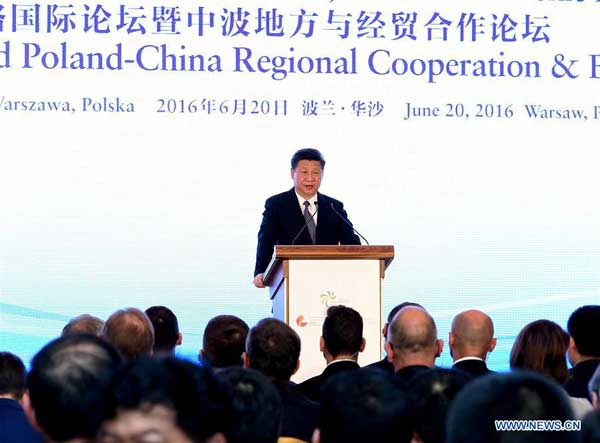 WARSAW, June 20, 2016 (Xinhua) -- Chinese President Xi Jinping delivers a speech at opening ceremony of the Silk Road Forum and Poland-China Regional Cooperation and Business Forum, in Warsaw, Poland, June 20, 2016. (Xinhua/Rao Aimin)