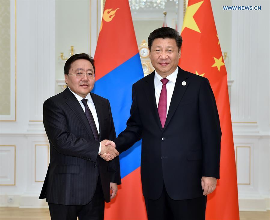 Chinese President Xi Jinping (R) meets with Mongolian President Tsakhiagiin Elbegdorj in Tashkent, Uzbekistan, June 23, 2016.