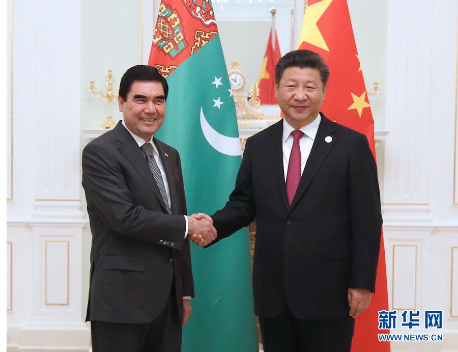 Chinese President Xi Jinping (R) meets with Turkmen President Gurbanguly Berdymukhamedov in Tashkent, Uzbekistan, June 23, 2016. (Xinhua/Ma Zhancheng)