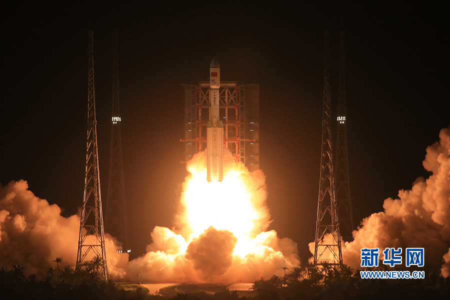 A Long March-7 carrier rocket lifts off from Wenchang Satellite Launch Center, south China