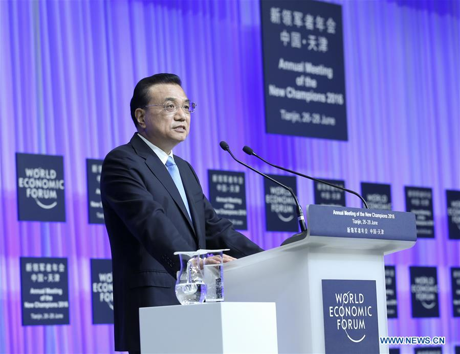 TIANJIN, June 27, 2016 (Xinhua) -- Chinese Premier Li Keqiang addresses the opening ceremony of the Annual Meeting of the New Champions 2016, or Summer Davos Forum, in Tianjin, north China, June 27, 2016. (Xinhua/Pang Xinglei)