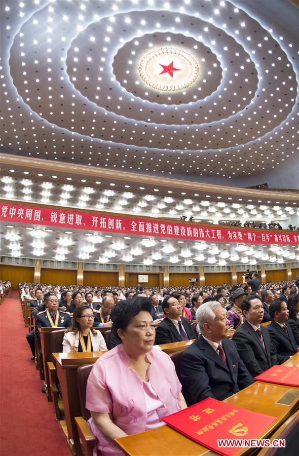 BEIJING, July 1, 2016 (Xinhua) -- A grand gathering celebrating the 95th anniversary of the founding of the Communist Party of China (CPC) is held at the Great Hall of the People in Beijing, capital of China, July 1, 2016. (Xinhua/Wang Ye)