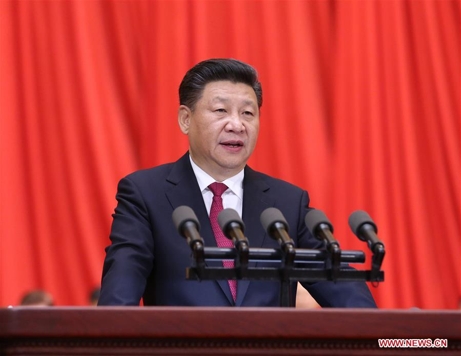 Chinese President Xi Jinping, also general secretary of the Communist Party of China (CPC) Central Committee and chairman of the Central Military Commission (CMC), delivers a speech at a rally marking the 95th anniversary of the founding of the CPC at the Great Hall of the People in Beijing, capital of China, July 1, 2016. (Xinhua/Liu Weibing)