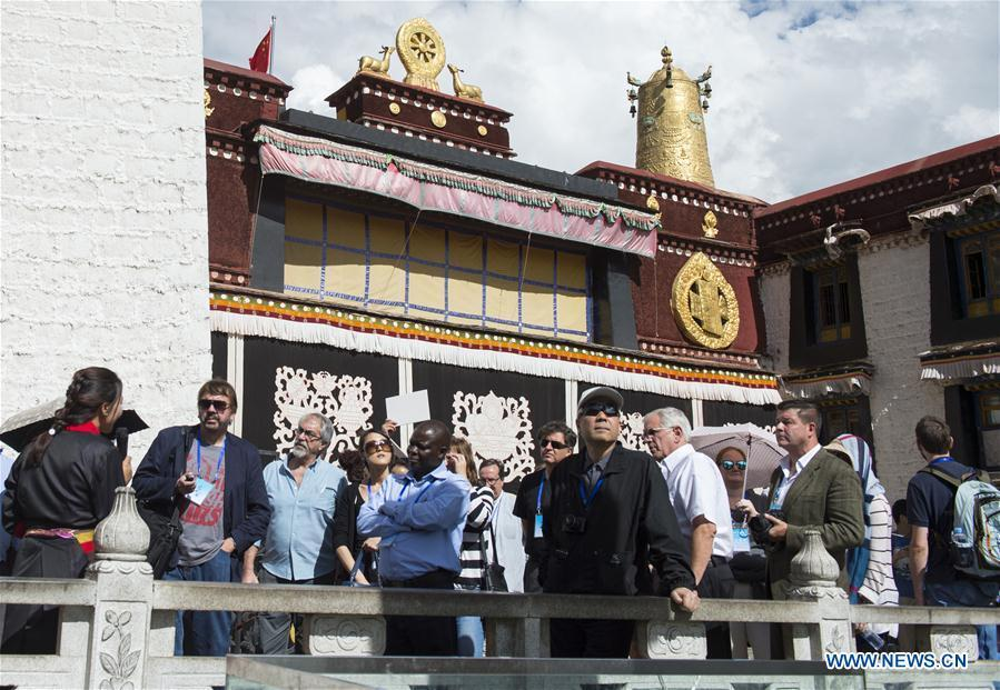LHASA, July 4, 2016 (Xinhua) -- Foreign expert representatives visit Jokhang Temple in Lhasa, capital of southwest China