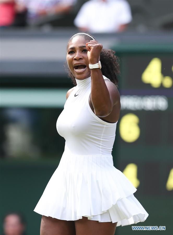 LONDON, July 6, 2016 (Xinhua) -- Serena Williams of the United States celebrates during the women